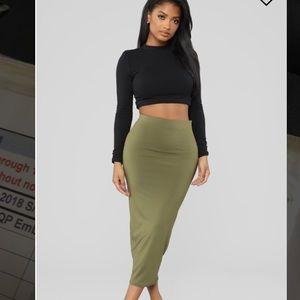 Military green maxi skirt